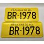 Placa De Carro Antiga Amarela - Par