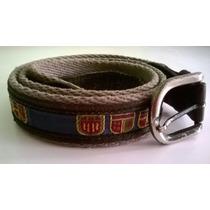Cinturon De Tela De Gro Con Cuero Y Bordados De Escudos