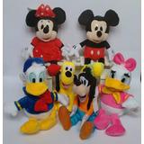 Kit 7 Pelucias Disney Mickey Minnie Pluto Pateta Pato Donald