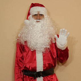 Roupa Fantasia De Papai Noel Adulto Com Barba E Peruca - U5