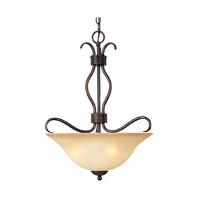 Lampara Colgante Basix 3-light Invert Bowl Pendant, Oil Rubb