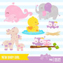 Kit Imprimible Nuevo Bebe Nena Baby Shower 4 Imagenes Clipar