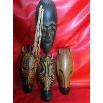 Mascaras De Madera- Africanas-vintage-adornos