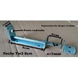 Fecho Trinco Ferrolho 6cm C/ Porta Cadeado Tm3 6 Zb - 1 Pç