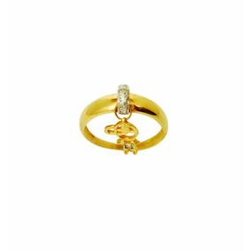Anel Aliança Com Pingente Feminino De Ouro 18k A1449ele