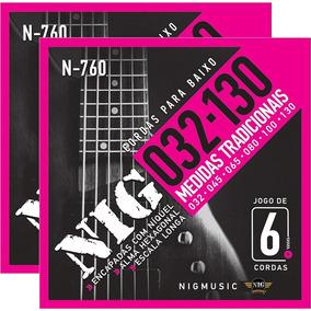 Encordoamento P/ Baixo 6 Cordas 045 130 Nig N760 - Kit Com 2