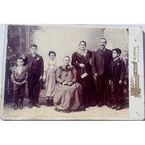 Antigua Foto Carton Bellisima Familia Niños Leer Medidas!!!