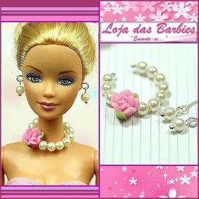 Joias De Luxo P/ Boneca Barbie Brincos + Colar * Acessórios