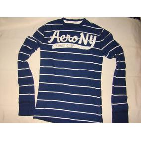 Sweater Aeropostale Original Talla Xs Azul Y Rayas Blancas