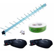 Antena Digital Uhf 20dbi + 2 Conversor Digital Cabo 15m