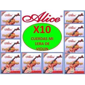 X10 Cuerdas Mi (1era) Para Violin Alice A703 Nuevas