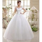 Vestido Noiva Princesa Importado Renda Cristal Barato