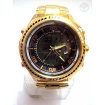 Relógio Mundial Atlantis Edifice Dourado Novo.