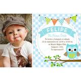 Kit Imprimible Lechuzas Primer Año Fiestas Cumpleaños Varón4
