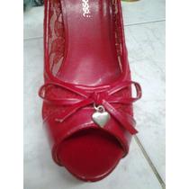 Tacones Altos Color Rojo Para Dama. Talla 38