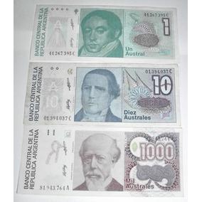 Argentina:lote De 3 Billetes De 1/10/1000 Australes S/c