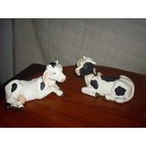 Vaca De Ceramica Pintadas A Mano X 2