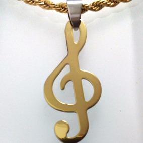 Corrente Pingente Clave De Sol Nota Musical Dourado Aço 02