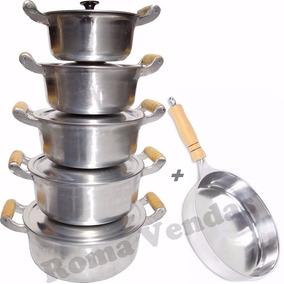 Jogo De Panelas Alumínio Fundido Batido + Frigideira * 6 Pcs