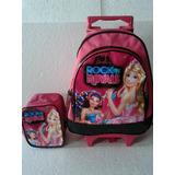 Kit Mochila Carrinho + Lancheira Barbie Rock In Royals