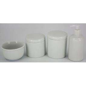 Kit Higiene Para Bebe 4 Peças Em Porcelana Branca