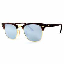 Óculos Ray-ban Clubmaster Rb3016 1145/30 51 Cinza Espelhado
