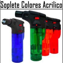 Encendedor Soplete Colores Acrílico Recargable Gas Butano
