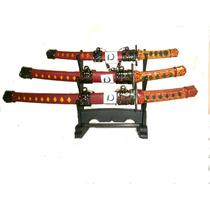 Mini Espada Kataná Samurai Abre Cartas Com Suporte Com Três