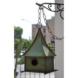 Adorno P/jardín Casa Casita Pájaro Chapa Hierro Verde
