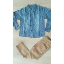 Conjunto Infantil Calça Sarja Skinny Camisa Jeans F/g S/j