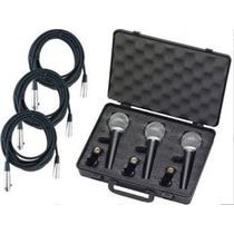 Combo Kit 3 Microfonos Tipo Sm58 + 3 Cables + Pipeta Envios