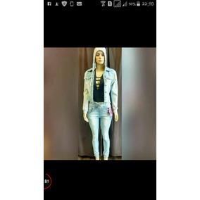 Jaqueta Jeans Com Moleton E Capuz Feminina