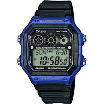 Casio Reloj Para Hombre Ae-1300wh-2av Pantalla Digital Azul