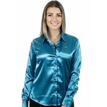 Camisa Feminina Iasmin - Cetim C/ Elastano - Pimenta Rosada