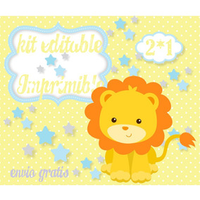 Kit Imprimible Leon Bebe Bautismos Primer Añito Baby Shower