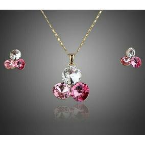 Collar Y Aretes Oro Lam.14k Zirconia Color Rosa Y Blanco