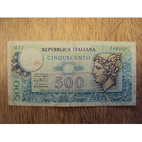 Billete Italia Papel Moneda 500 Liras 1974