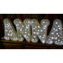Nombre Con Luces De 1 Metro De Ancho 5/6 Letras