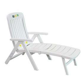 Espreguiçadeira Dobrável Branca Piscina Praia Cadeira