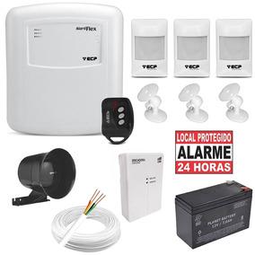 Kit Alarme Central Ecp Flex 3 Setores + Discadora Gsm