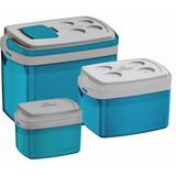 Kit Conjunto 3 Caixas Térmicas Azul 32 12 E 5 Litros Soprano
