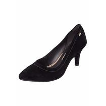 Sapato Scarpin Feminino Bico Fino Camurça Preto Dakota B7275