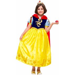 Vestido Fantasia Branca De Neve Luxo C/ Capa Infantil Disney