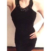 Vestido Cóctel Negro Con Piedras