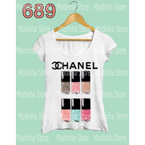 Esmaltes Marca Chanel Moda Estampa Camiseta Blusa Feminina