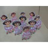 Kit 10 Display Dora Bailarina Decoração De Mesa Festas