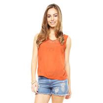 Anna Flynn - Blusa Coral Con Guipur - Coral - L1034