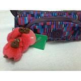 Kipling Cute Estojo Escolar Ac7089 Macaco Roxo Rosa Vermelho