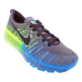 Tênis Nike Flyknit Air Max Grafite, Verde E Azul