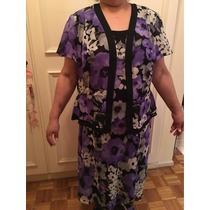 Vestido De Gasa Color Lila Negro Y Blanco Solero Con Saco